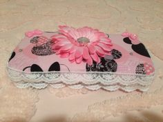Items similar to Minnie Mouse fabric covered diaper wipe case with large flower, rhinestone, and lace embellishment. on Etsy Diaper Wipe Case, Baby Wipe Case, Wipes Case, Minnie Mouse Fabric, Traveling With Baby, Large Flowers, Fabric Covered, Ministry, Baby Boy