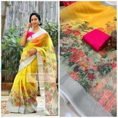 Yellow Indian Traditional Organza Saree With Unstitched Running Blouse For Women Wear,Wedding Wear,P