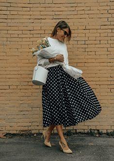 Polka dots skirt, camelia roma bag, shoes of prey shoes, yellow shoes, spring look,midi skirt, cristina surdu