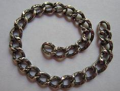 Vtg Antique Victorian Sterling Silver Ornate Puffy Link Starter Charm Bracelet | eBay