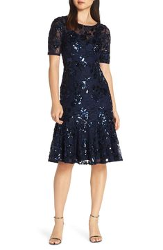 a80a51a94a73a6 Adrianna Papell Sequin Embellished Dress