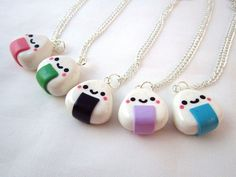 Kawaii Onigiri Riceball Pendant Polymer Clay Charm Silver Necklace. $9.00, via Etsy.