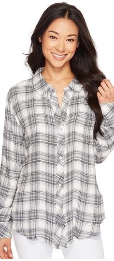 Mod-o-doc Novelty Shirtings Classic Button Front Shirt (White/Black) Women's Long Sleeve Button Up - Mod-o-doc, Novelty Shirtings Classic Button Front Shirt, 417-80907, Apparel Top Long Sleeve Button Up, Long Sleeve Button Up, Top, Apparel, Clothes Clothing, Gift, - Fashion Ideas To Inspire