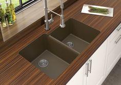 """Granite Quartz Offset 33"""" x 21"""" Double Basin Undermount Kitchen Sink"""