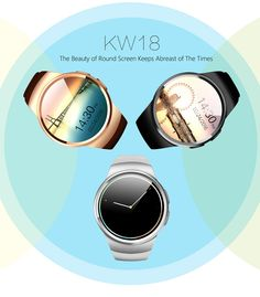 KingWear KW18 Smartwatch Phone MTK2502 1.3 inch Round Dial IPS Screen Anti-lost Bluetooth 4.0 Pedometer Stopwatch Heart Rate Monitor  -  BLACK #phone #mobile #gadgets #CellPhones #smartphones @gadgetsone