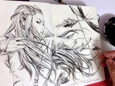 Sketch, Tauriel by eDufRancisco on @DeviantArt
