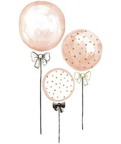 Muurstickers XL Kinderkamer Kids Balloons Pink and Peas Gold