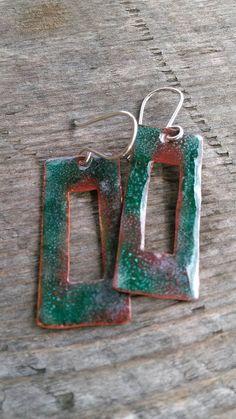 Turquoise Green Enameled Earrings on Copper by LauraGuptillJewelry