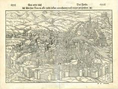 """Rome. - """"Die statt Rom in aller weldt bekant contrafhetung nach ietziger gelegenheyt"""" View of Rome from a half bird's eye position. Early depiction of the Eternal City, even before St. Peter in the Vatican was built in the presently known architecture. On reverse side of print we have the descriptive keys for various buildings. """"C"""" is St. Peter in the state before the state we all know. Woodcut. Published in """"Cosmographia"""" by Sebastian Muenster (1488-1552) German edition. Basel, 1553 Antique Maps, Basel, Vatican, Rome, Keys, Buildings, Vintage World Maps, German, Birds"""