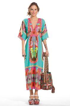 vestido longo manga ampla baioque