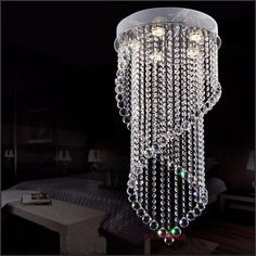 Z modern led crystal chandelier Curtains hanging lamp Double helix Chandelier for bedroom restaurant livingroom GU10 LED bulbs
