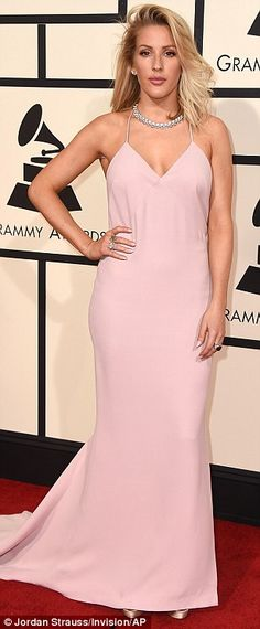 Pretty in pink: Ellie Goulding kept things simple but stylish in a powder pink Stella McCa...