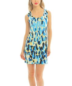 Take+a+look+at+the+Blue+Animal+Dot+Sleeveless+Dress+on+#zulily+today!