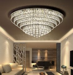 LED has three kinds of brightness, can be adjusted. Chandelier Lighting Fixtures, Flush Mount Chandelier, Luxury Chandelier, Chandelier In Living Room, Chandelier Lamp, Modern Chandelier, Living Room Lighting, Chandeliers, Crystal Ceiling Light