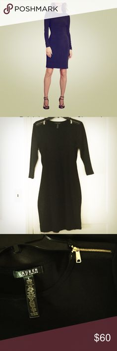 AUNTHETIC RALPH LAUREN DRESS Ralph Lauren Black Dress with shoulder zippers. SIMPLY STUNNING. Only worn once great condition ! Retails for 144$$ ❌LOWBALLING❌ No trades. Make me a reasonable offer and I will accept ! Ralph Lauren Dresses Midi