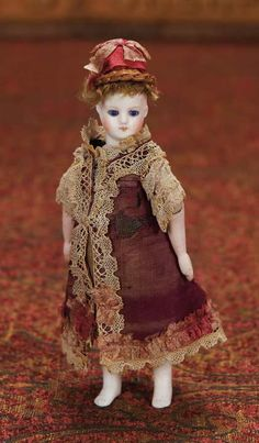 """Rare French All-Bisque Mignonette with Jointed Elbows,Original Costume 5 """" (14 cm.)"""