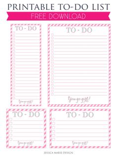 Free Printable Pink To Do List from Jessica Marie Design
