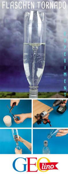Mit diesem Experiment erzeugt ihr einen Tornado in der Flasche! With this experiment you create a tornado in Slime Science Fair Project, Easy Science Experiments, Science Party, Calm Down Jar, Shake Bottle, Bottle Bottle, Current Picture, Rainbow Paper, Diy Slime
