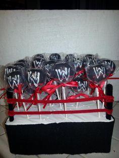 WWE Cake Pops by Taste-E-Bakes. Find us on FB or e-mail at tasteebakes@yahoo.com