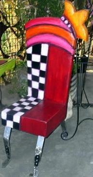 Painted art furniture chair