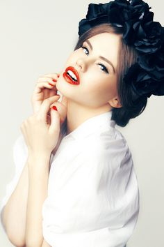 Black eyeliner and red lips. Check this beautiful photoshoot. Makeup and Hair by Agne Skaringa