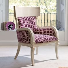 Natasha 1550 | Classic armchair made of almond white lacquered old-looking wood