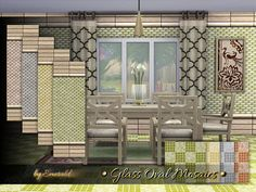 Oval glass mosaics are unique and timeless  Found in TSR Category 'Sims 4 Walls & Floors Sets'