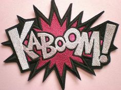 Large Embroidered KABOOM Applique Iron On by ElsieMichelleDesigns