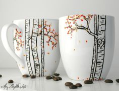 Birch Tree Personalized Mugs - A perfect anniversary gift for couples who love coffee and nature. Hand-Painted by MaryElizabethArts.com