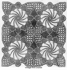 Crochet Pinwheel Square Pattern, 12 or 16 inches, for doily, tablecloth, bedspread. Vintage Laura Wheeler a Mail Order Design pattern. Crochet Tablecloth Pattern, Crochet Bedspread, Crochet Square Patterns, Crochet Squares, Crochet Doilies, Doilies Crafts, Yarn Crafts, Vintage Knitting, Vintage Crochet