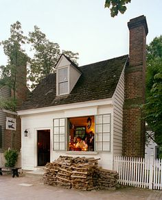 Boot and Shoemaker : The Colonial Williamsburg Official History & Citizenship Site See that firewood stacking! Colonial Williamsburg Va, Williamsburg Virginia, Virginia Is For Lovers, Colonial America, Cabins And Cottages, Cozy Cottage, White Cottage, Little Houses, Tiny Houses