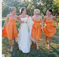 bridesmaid orange dresses