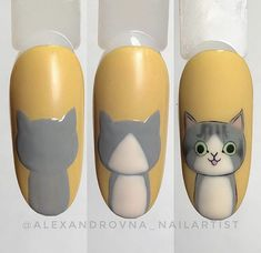 No photo description available. Cat Nail Art, Animal Nail Art, Cat Nails, Nail Art Diy, Cat Nail Designs, Nail Art Designs Videos, Nail Art Videos, Nail Drawing, Nail Art Pictures