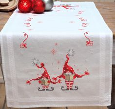 Vervaco Christmas Gnomes Elves Song Book Stamped Cross Stitch Table Runner Kit