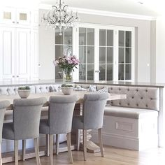 Curved cabinetry triple buttoned banquette seating and glazed internal doors Banquette Seating In Kitchen, Kitchen Benches, Dining Nook, Booth Seating In Kitchen, Built In Dining Room Seating, Dining Sets, Dining Chairs, Dining Table, Kitchen Booths