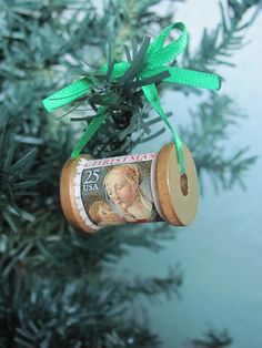 Mary and Jesus Stamp and Spool Ornament. $7.00, via Etsy.