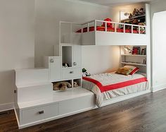 White Corner Bunk Beds with Stairs and Storage in Contemporary Kids Bedroom Design Ideas. Coolest bunk beds I've ever seen! Bunk Beds With Stairs, Cool Bunk Beds, Kids Bunk Beds, Lofted Beds, Bed Stairs, Contemporary Bunk Beds, Modern Bunk Beds, Post Contemporary, Loft Spaces