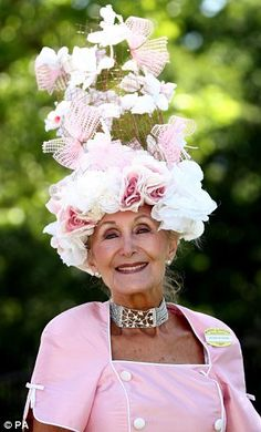 Royal Ascot Ladies Day Hats. When you wear one this tall, you must also wear a good sturdy choker to keep the head from bobbing about.