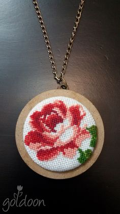 cross stitch jewelry,cross stitch pendant,cross stitch necklace,cross stitch rose,red rose,hand stitch.handicraft,wooden jewelry