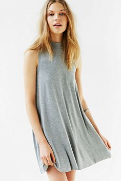 Silence + Noise Mock-Neck Mini Swing Dress - Urban Outfitters