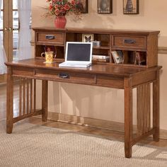 ashley furniture cross island mission large leg desk and low hutch dunk bright furniture