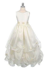 Flower Girl Dresses -Flower Girl Dress Style 163- Sleeveless Satin Dress with Pick Up Skirt