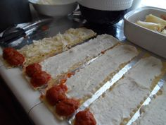 Meatball Lasagna Rolls - can also use an Italian sausage cut in half and lengthwise, par cooked.  Lots of recipes add spinach and such, make this extra cheesy.