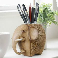 Amazon.com: Wood Carving Elephant Pencil Holder Fashion Creative Wooden Pen Holder: Office Products