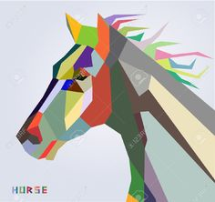 Horse head symbol of New Year 2014 trendy style geometric vector  Stock Vector