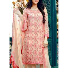 Shirt: Fabric: Crinkle Chiffon shirt with embroidered front, sleeves & back. Shalwar/Trouser: Fabric: Dyed Grip with embroidery. Dupatta: Fabric:Embroidered Crinkle Chiffon. Contact: (702) 751-3523 Email: info@pakrobe.com Skype: PakRobe