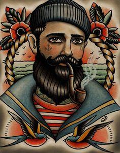 Ideas Tattoo Old School Men Style Sailor Jerry Trendy Tattoos, New Tattoos, Tattoos For Guys, Cool Tattoos, Beautiful Tattoos, Watch Tattoos, Dragon Tattoos, Print Tattoos, Hand Tattoos