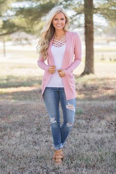 Always In Love Cardigan Dusty Rose - The Pink Lily
