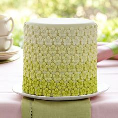 Green Ombre Flower Cake - It's easy to add gorgeous flower details to this cake using the Nature Fondant and Gum Paste Mold! The trending om...