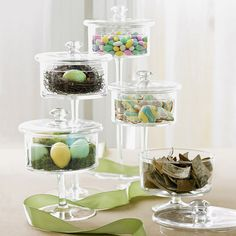 Easter vignette with glass cloches